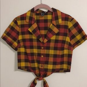 Plaid Crop top with knot